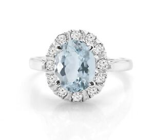 Natural-Blue-Aquamarine-Sterling-925-Silver-Ring-Solitaire-Gemstone-Size-5-11
