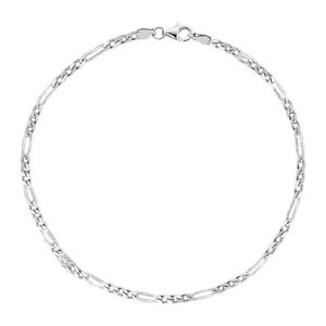 """Collection Here Argento Sterling Italiano Figaro Cavigliera O Bracciale 1.8 Mm 7 """",25.4cm Firm In Structure Jewelry & Watches"""