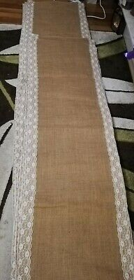 30cm Width Any Length! 25cm Hessian and Lace Table Runner 20cm