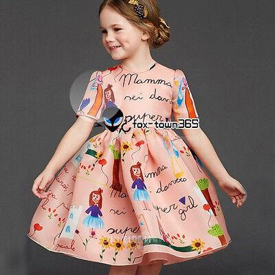 2017 Spring Autumn Baby Child Girl Kids Princess Mom Doll 3/4 Sleeve Dress 3-8Y