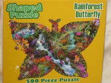 "NEW-Rainforest Butterfly 500 Piece Shaped Puzzle-27"" X 19""-Made In USA"
