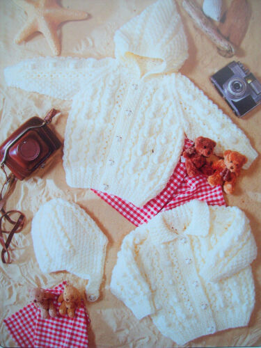 Baby Girls Boys Cable Bobble Hooded Jacket Hat KNITTING PATTERN Aran 16-24in