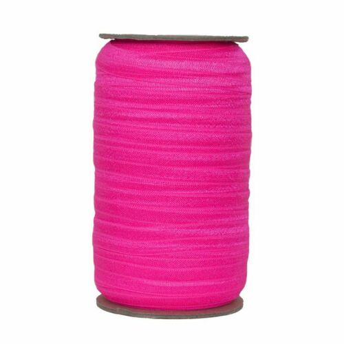 100 Yard Spool-Fold Over Elastic-Neon Pink-5//8in Wide-FOE-Headband-Girl-Baby