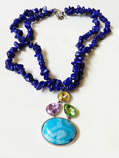 """NOVADAB HAND CRAFTED COBALT BLUE NUGGET CRYSTAL PENDANT TWO STRAND NECKLACE 18""""L"""