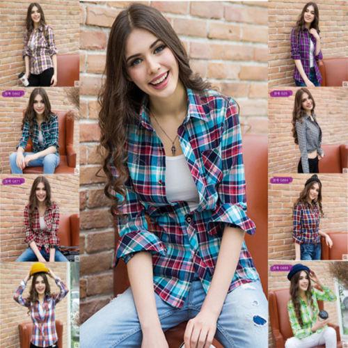 100% Cotton Women Plaid Checks Button Down Long Sleeve Lapel Shirt Tops Blouse