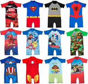 b45a7c11ec Image is loading Boys-Character-Sun-UV-Protection-Sunsafe-Sunsuit-Swimsuit-