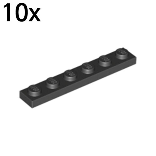 LEGO 10x Black Plate 1 x 6 366626 3666