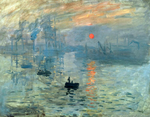 Art Oil painting Monet Impression Sunrise seascape with canoes in the morning
