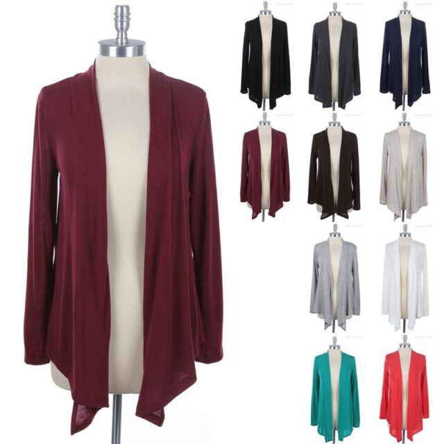 Open Front Draped Cardigan Long Sleeve Solid and Plain Comfortable Easy Wear