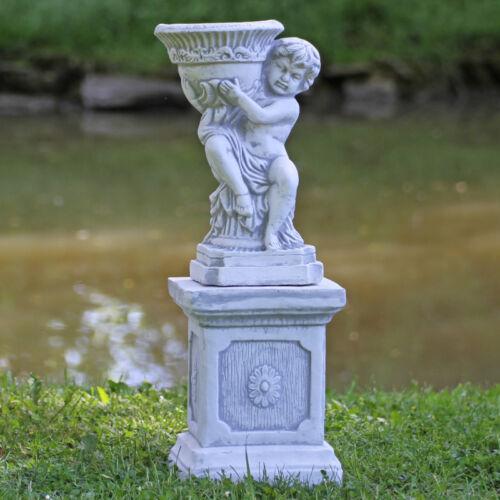 Putte mit Pflanzschale auf Sockel Figur winterfest Haus Garten Skulptur