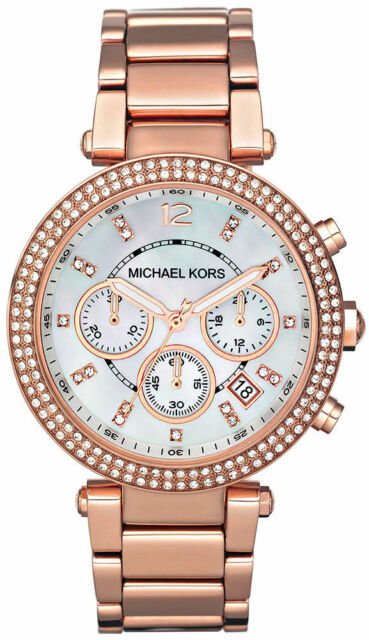 Michael Kors Women Chronograph Parker Rose Gold Stainless Steel Watch MK5491