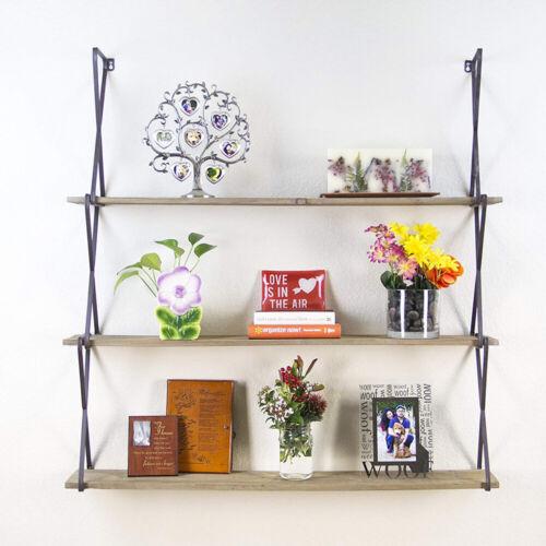 3 Tier Wall Mount Floating Shelves Wood For Bedroom Living Room Kitchen Office
