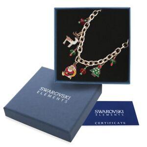 Bracciale-donna-oro-Swarovski-Element-originale-G4Love-Babbo-Natale-Renna-Albero