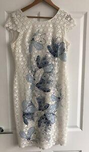 Jacques-Vert-Crema-Azul-Floral-Encaje-Vestido-para-Boda-Formal-Talla-12-seco-limpio