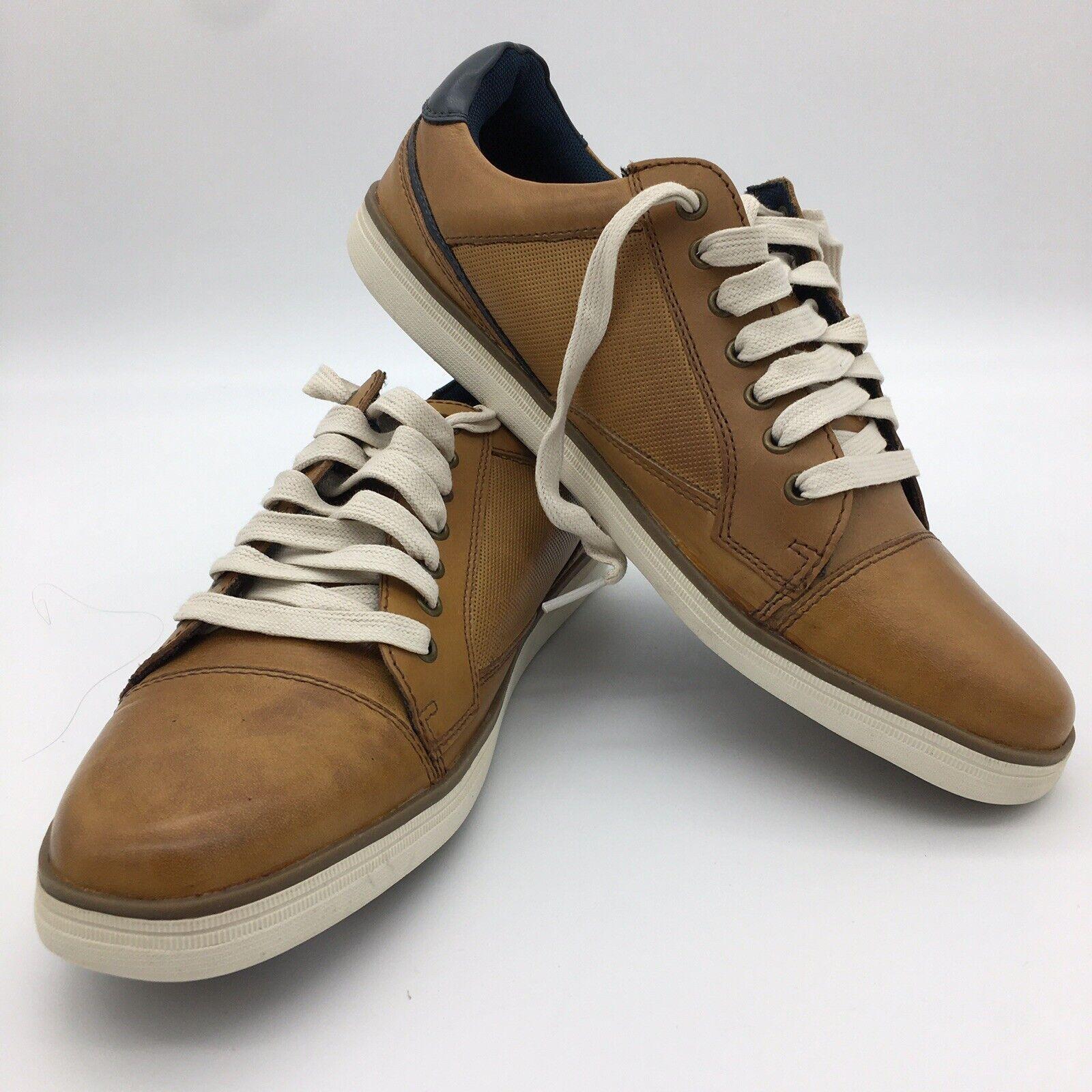 Joseph Abboud Cap Toe Brown Leather Lace Up Sneaker Shoes Mens Size 9.5D