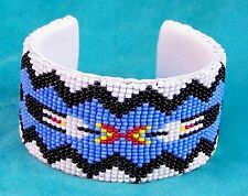 """""""EAGLE FEATHERS"""" NATIVE AMERICAN INDIAN BEADED CUFF BRACELET"""