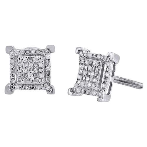 Diamant Carré Boucles D/'Oreilles Argent Sterling .925 Ronde Pave Design Rivets 0.15 ct