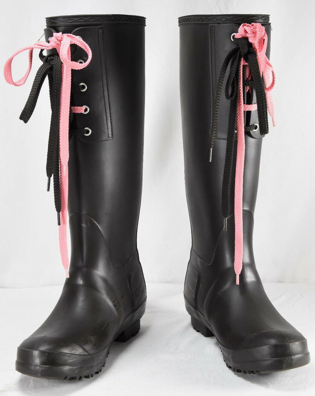BARNEYS NEW YORK Brown & Pink Laced Rubber Rain Boots Size 39 US 9 Made In Italy