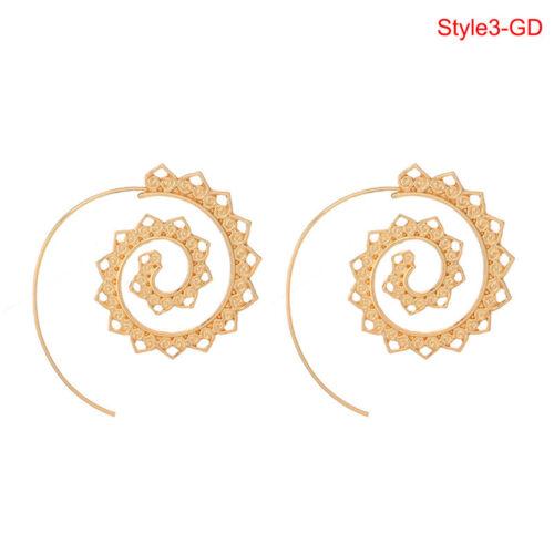 Retro Women Circles Round Spirals Tribal Hoop Earring Ear Stud Piercing Jewel UQ