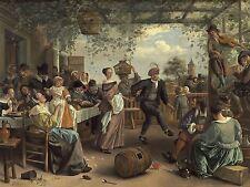 JAN STEEN DUTCH DANCING COUPLE OLD ART PAINTING POSTER PRINT BB5795A