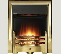 Electric Brass Gold Surround Remote Control Led Fireplace Pebble Coal Inset Fire
