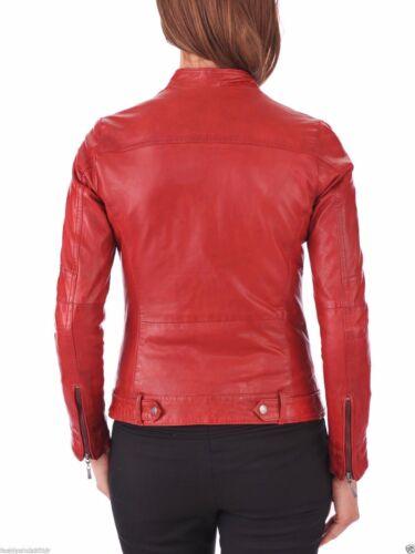 rouge pour femme d'agneau dames la pour en mode cuir à peau en Veste A1OBvH