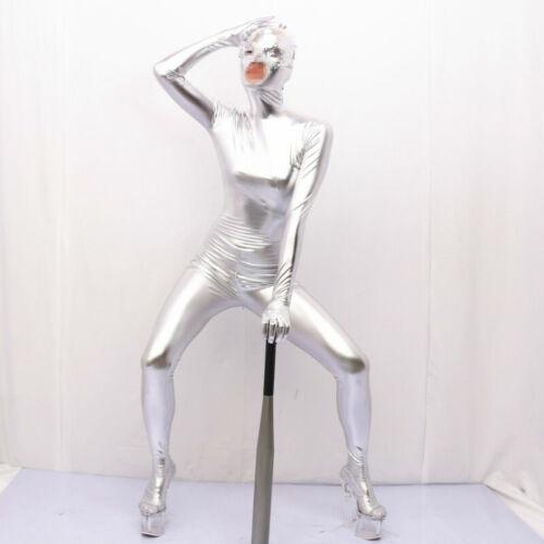 Damen Kunst Latex Zentai Body Catsuit Nass-Look Anzug Kostüm Trikot