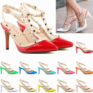Lady-Women-High-Heel-Rivet-Stiletto-Ankle-Strap-Party-Wedding-Court-Shoes-Pumps