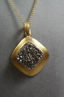 Marcia Moran Gold Plate Druzy Chain Necklace Pendant Retail $225