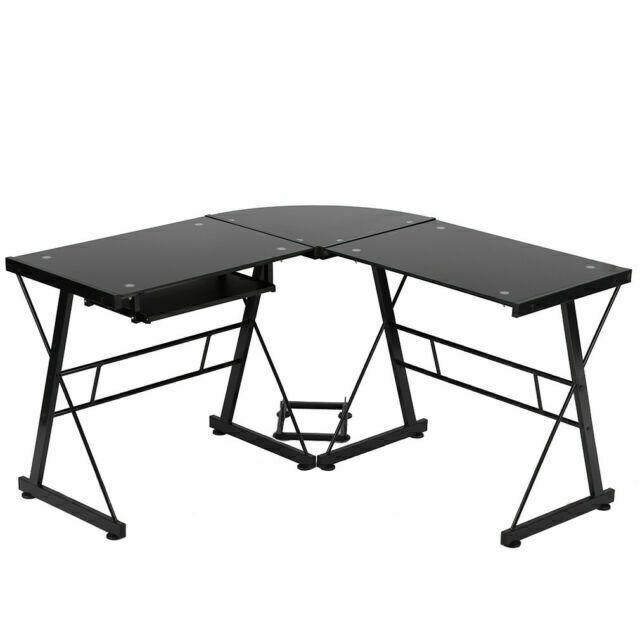 Bestmassage L Shaped Glass Corner Desk, Corner Desk Black