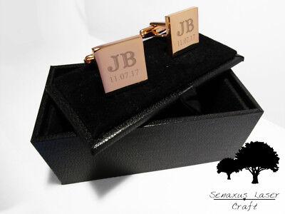 Qualità Al 100% Oro Rosa Inciso Gemelli & Scatola Regalo Personalizzato Gemelli Uomo Migliore Rgcls 4-