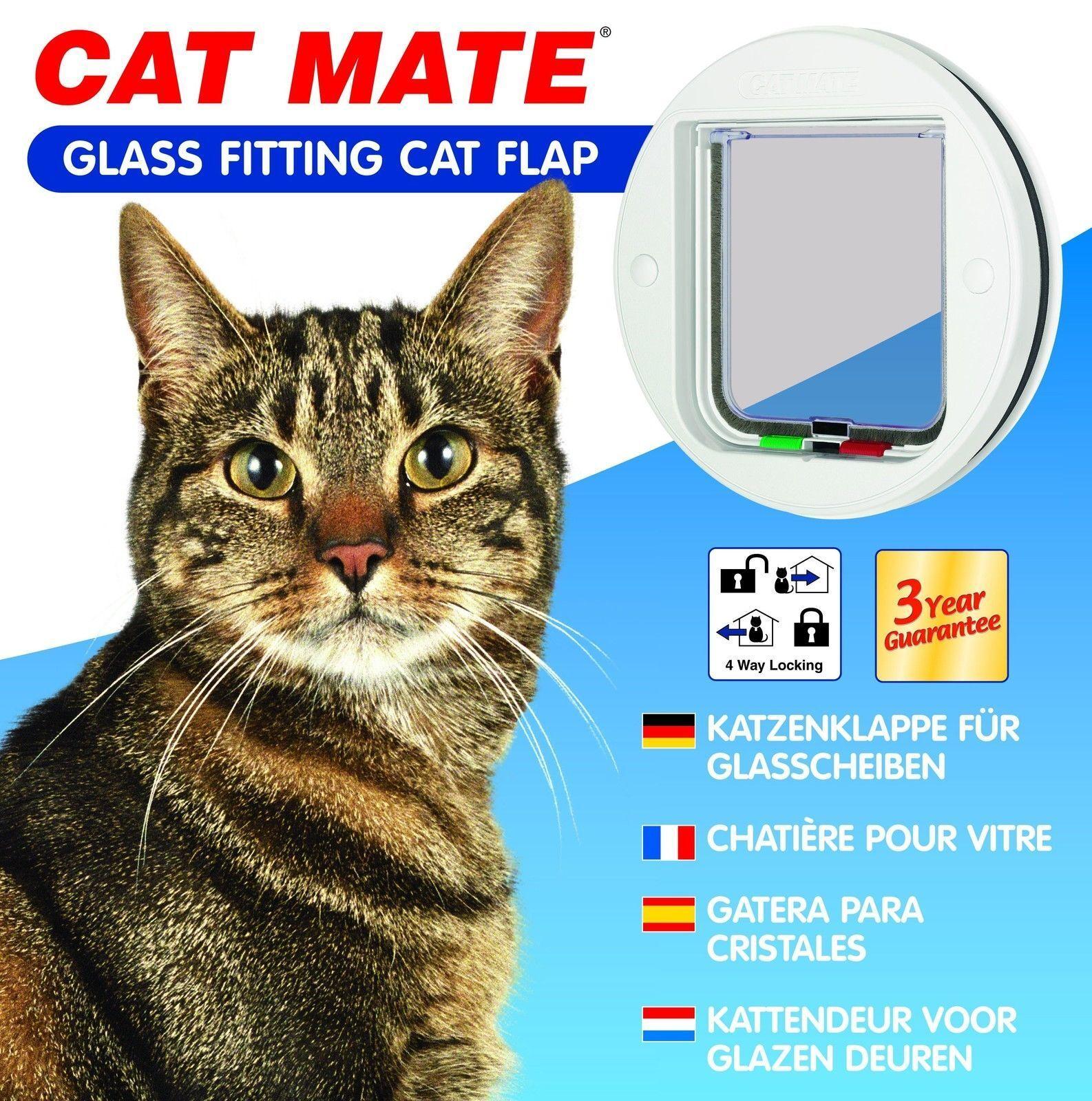 Cat Mate Verre pour 4 Voies Blocante Chattière white 210w