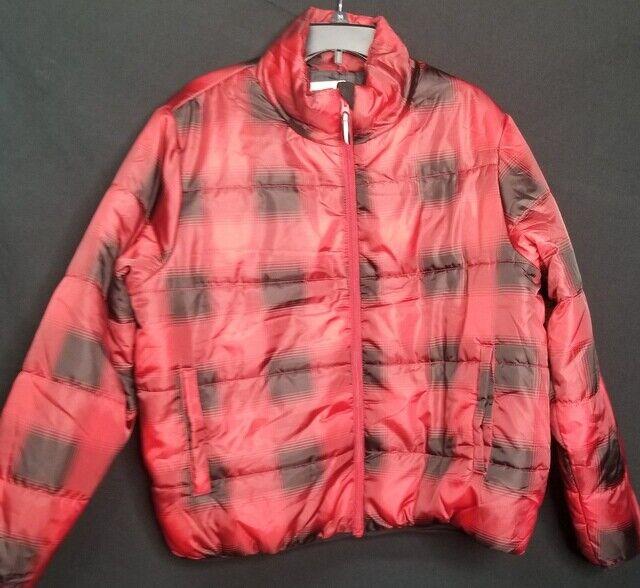 UNIVERSAL THREAD Black Red Plaid Puffer Zip-Up Coat Size XXL