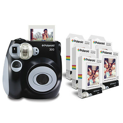 Polaroid PIC 300 Camera in Black with 5 X PIF 300 Paper Bundle Pack = 50 Prints