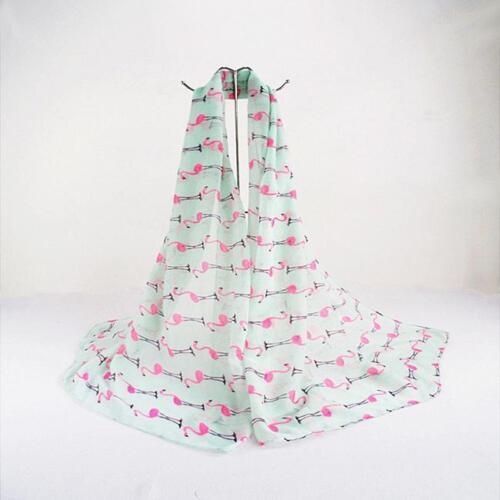 Women Autumn Winter Scarf Pashmina Cape Warm Animal Flamingo Print Shawl Wrap I