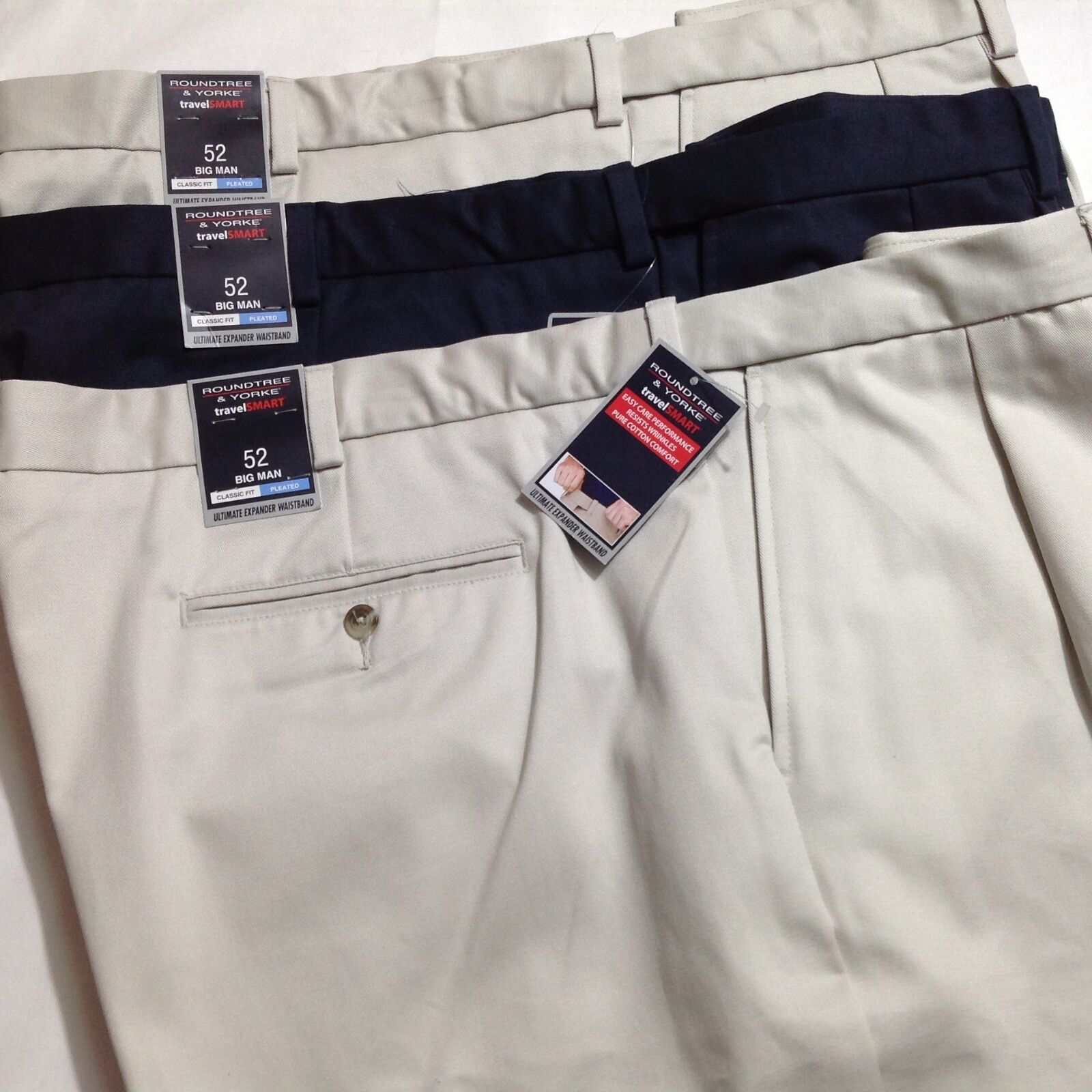 Roundtree &Yorke Men Travel Smart Shorts Pleated Expander 52 Big Lot of 3 New
