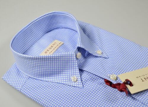 Camicia Pancaldi button down con taschino cotone micro disegno celeste stampato