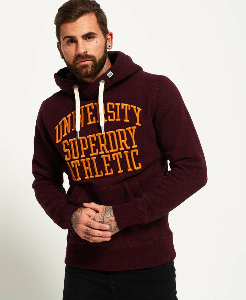 Neuer Herren Superdry Hoodie mit Applikation Dark Berry Grit