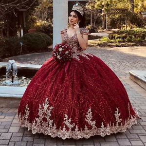 2021 Burgundy Ball Gown Quinceanera Dress Lace Appliques Sweet 16 Pageant Gowns