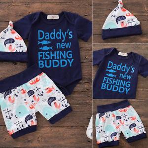 150909722 Newborn Infant Baby Boys Tops Romper Bodysuit Pants Hat Outfits Set ...