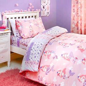 Kids-Duvet-Covers-Pink-Mermaids-Floral-Reversible-Print-Quilt-Bedding-Sets