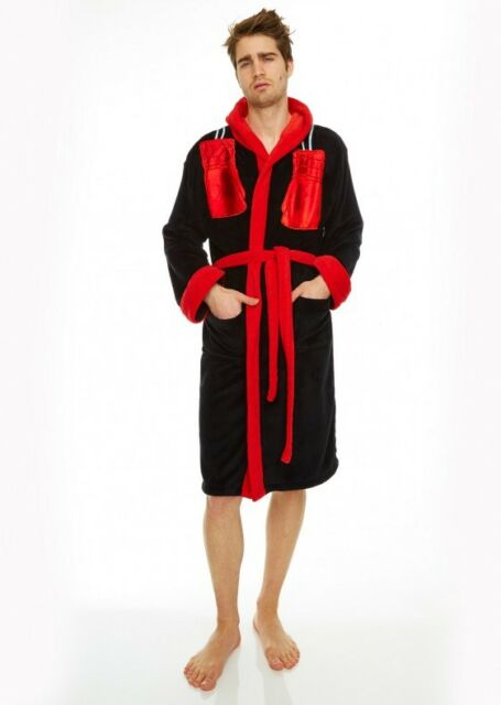 ROCKY Fleece Hooded Bath Robe Dressing Gown With Boxing Glove ...