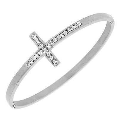 Stainless Steel Silver Classic Religious Cross White Crystals CZ Womens Bracelet