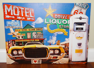 Route-66-Graphic-Art-Print-on-Stretched-Canvas