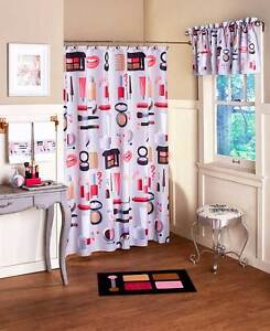 Image Is Loading Hollywood Glamour Makeup Shower Curtain Hooks Chic Lipstick