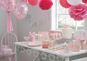 Image Is Loading Girls Princess Party Banners Decorations Pink Silver Christening