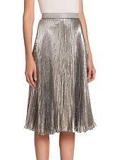 CHRISTOPHER KANE Women's Lame Accordion-Pleated Skirt: Size 4 ( USA): Metallic