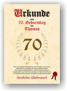 Urkunde-zum-70-GEBURTSTAG-Geschenkidee-Geburtstagsurkunde-Namensdruck-Partydeko