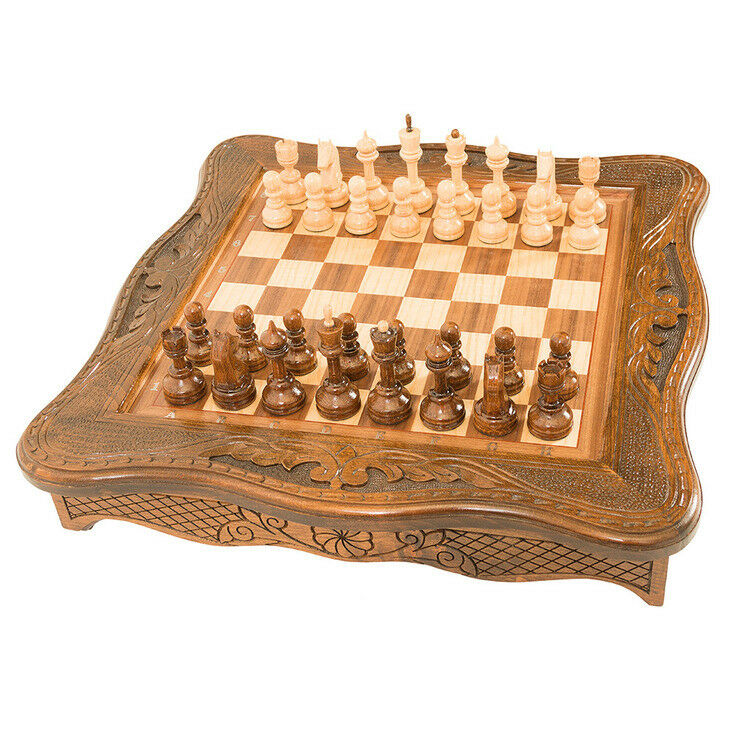 Armenian Handmade Chess in cascet - Set Board Game Hand carved from walnut