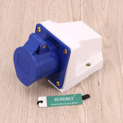 16A 240V Industrial Site Plug IP44 Weatherproof 3 Pin Female Wall Fix Inlet